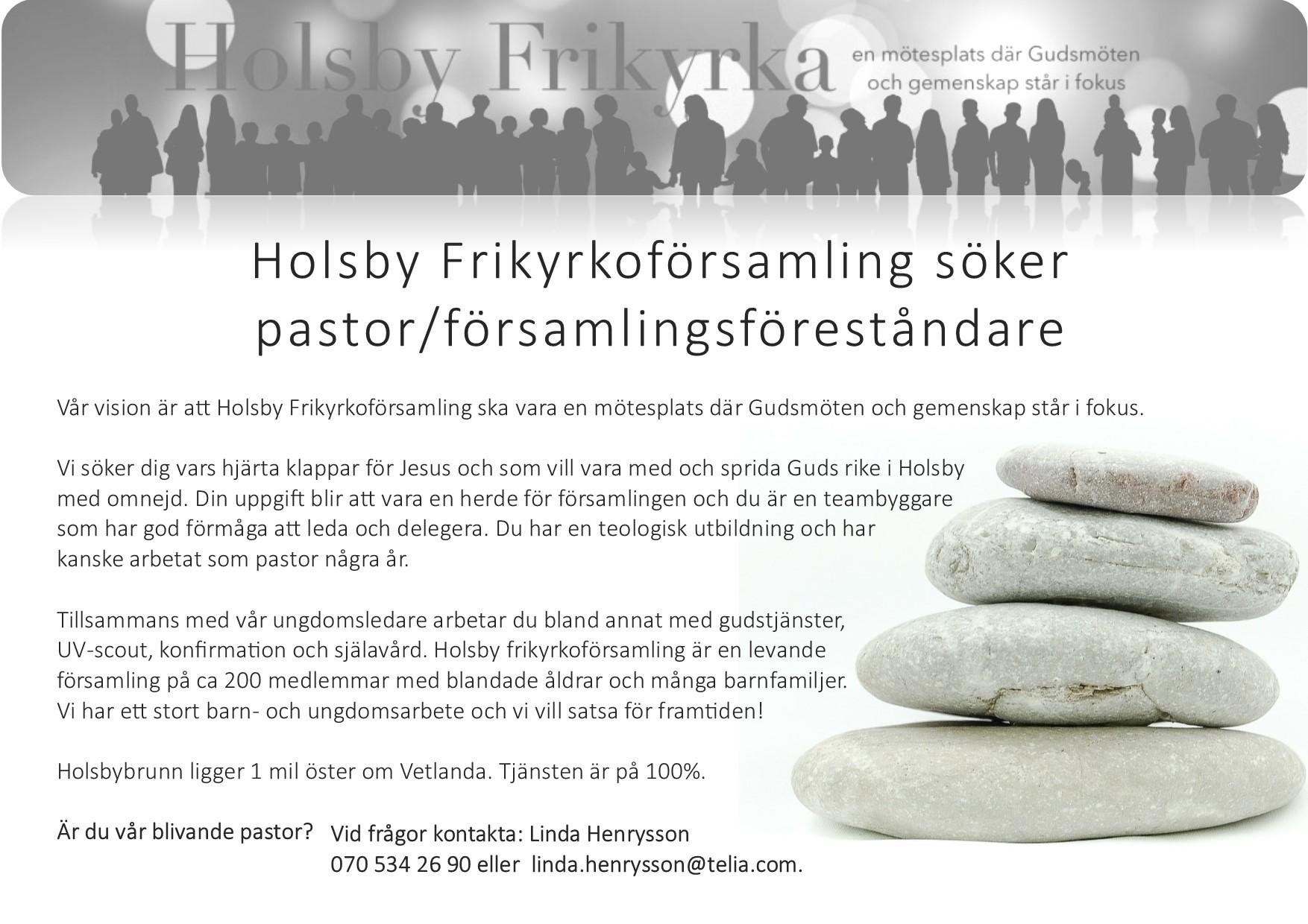 Holsby Frikyrka pastor sökes